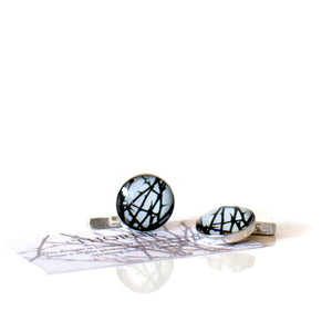 Black and silver handcrafted cufflinks