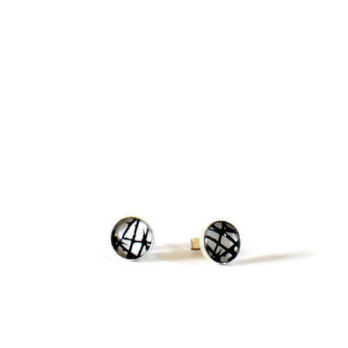 monochrome thorns stud earrings sterling silver