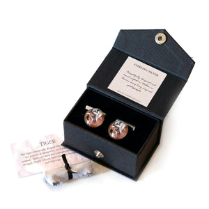 Gift boxed tiger cufflinks