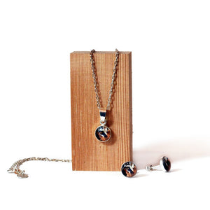 Tiger pendant and stud earring jewellery gift set