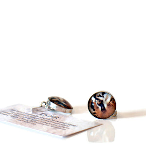 Handcrafted sterling silver cufflinks tiger
