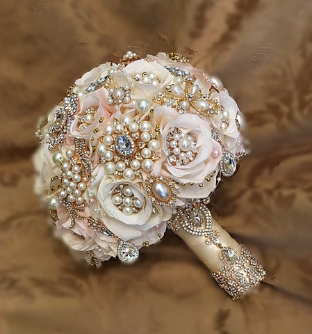 Custom Blush Pink Ivory & Gold Bouquet & Boutonniere=$520.00