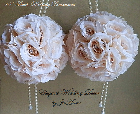 "6-10"" Elegant  Blush Pink Wedding Flower Pomanders"