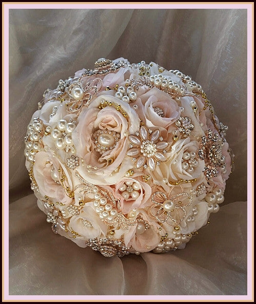 White Wedding Bouquets With Bling