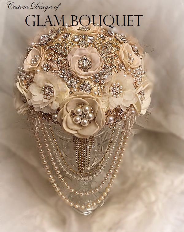 Champagne Ivory Vintage Jeweled Flower Bouquet - $499.00