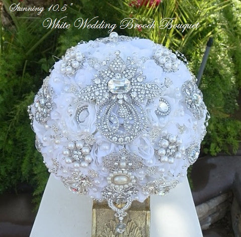 White and Silver Bridal Brooch Bouquet - $499.00