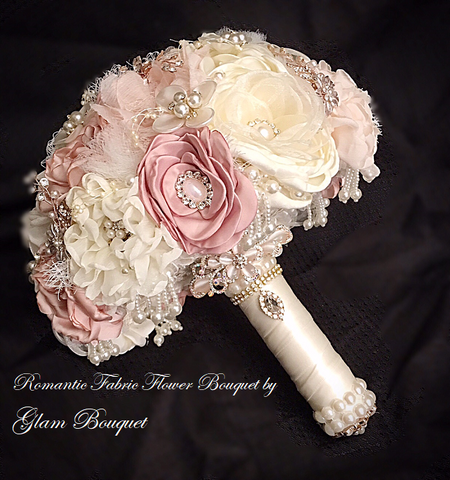 Romantic Fabric Flower Wedding Bouquet - $350 (PROMO)