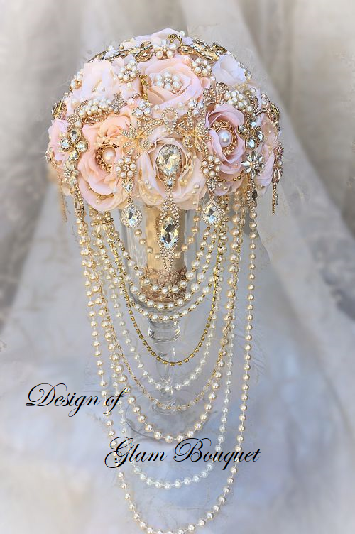 Cascading Pearl Pink Wedding Bouquet 565 00 Usd Glam