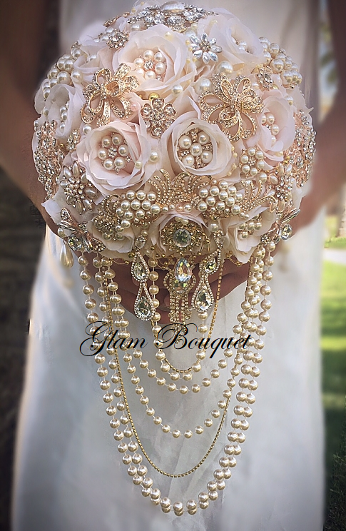 Custom Cascading Blush Rose Gold Bouquet - $665.00