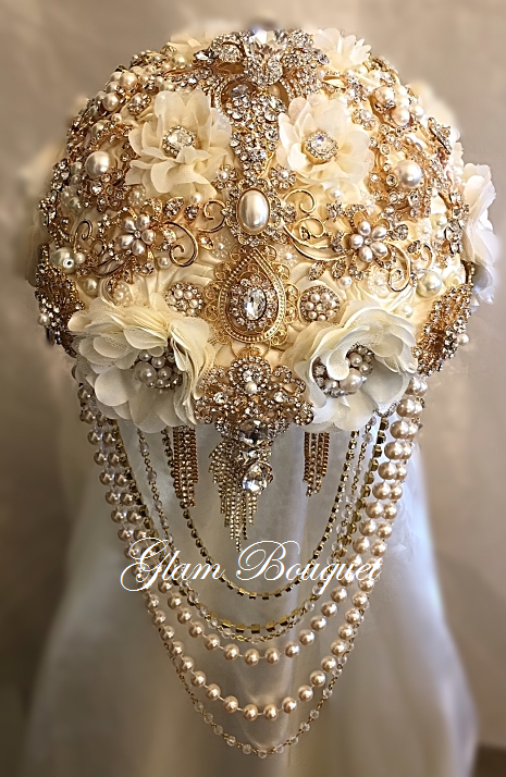 Gold And Ivory Cascading Brooch Bouquet 565 00 Glam Bouquet