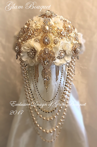 Custom Gold and Ivory Vintage Style Cascading Brooch Bouquet-$675