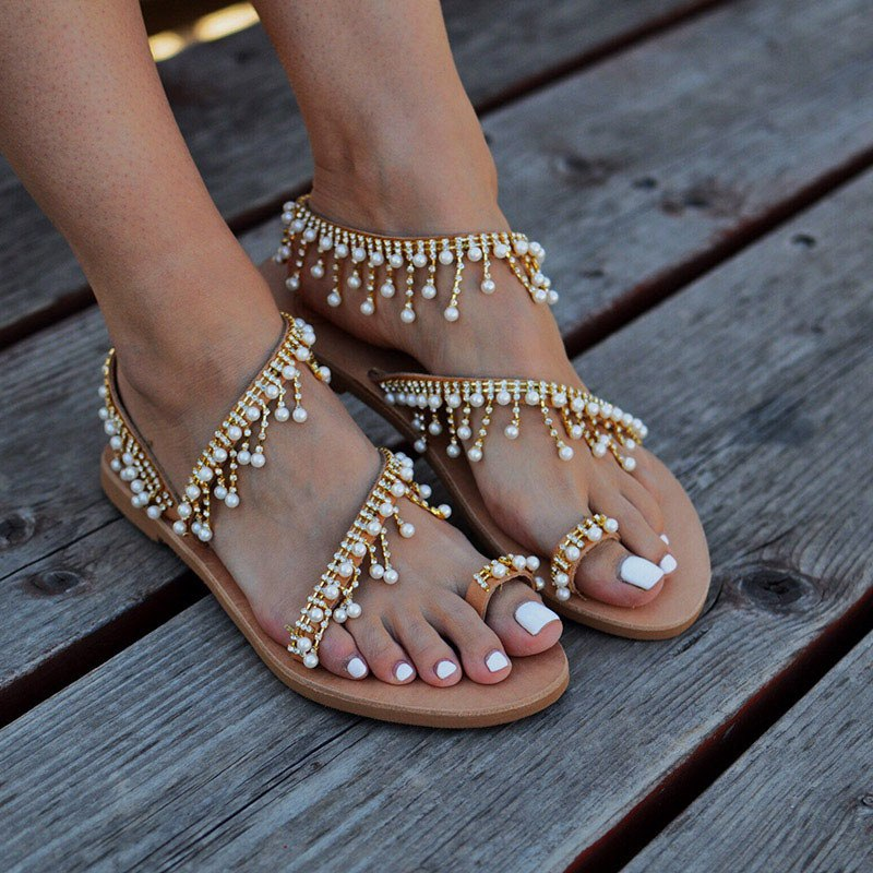 BEACH WEDDING SANDALS -Pearl Rhinestone Strands