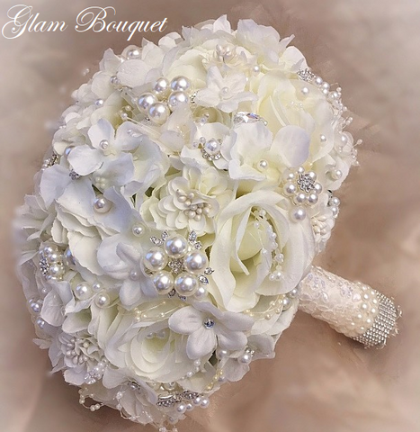 Elegant Silk Hydrangea Jeweled Bouquet - $ 350.00