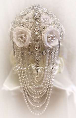 GLAM White Cascade Brides Brooch Bouquet - $625.00 (Summer Promo)