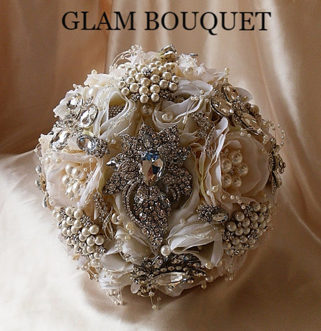 Vintage Glam Cream Ivory Jeweled Wedding Bouquet - $499.00