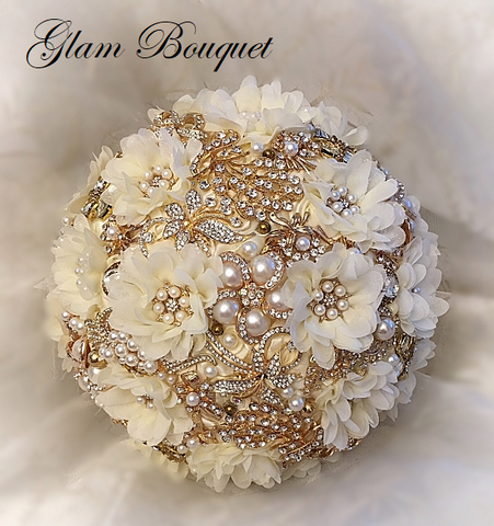 Gold & Ivory Jewelry Bouquet - $499.00