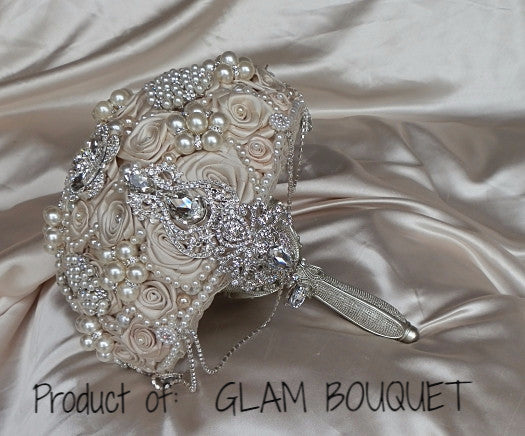 Champagne & Silver Brooch Bouquet - $495.00