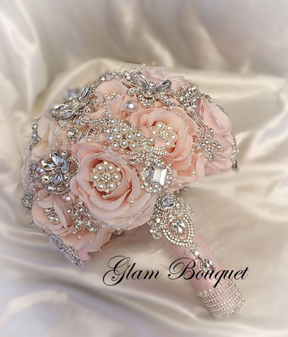 Blush Pink Petal Brooch Bouquet - $495.00 (PROMO full Price)