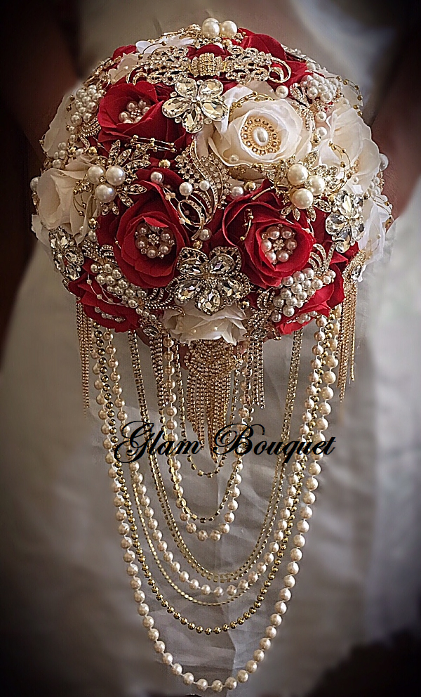 Red and Gold Petal Brooch Bouquet - $565.00 (Full Price)