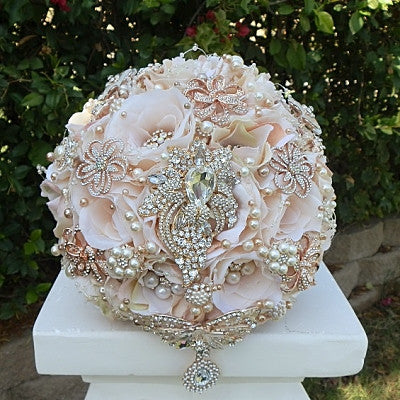 Blush Pink Rose Gold Brooch Bouquet- $495.00 (Promo Full Price)