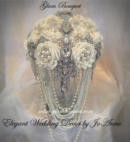 Glamorous Cascade Ivory Bridal Brooch Bouquet - $585 (PROMO)