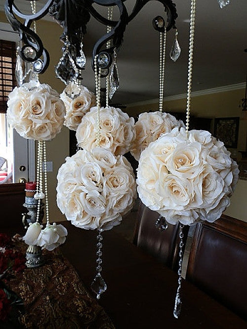 ivory Bridal pomander wedding decor