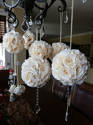 Ivory Crystal Embellished Wedding Pomanders- Set of 6