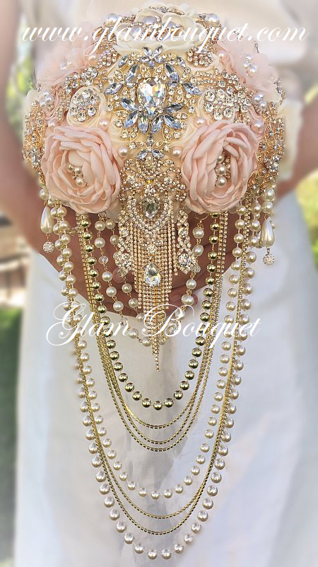 PINK GOLD & IVORY BROOCH BOUQUET - Full Price $625.00USD