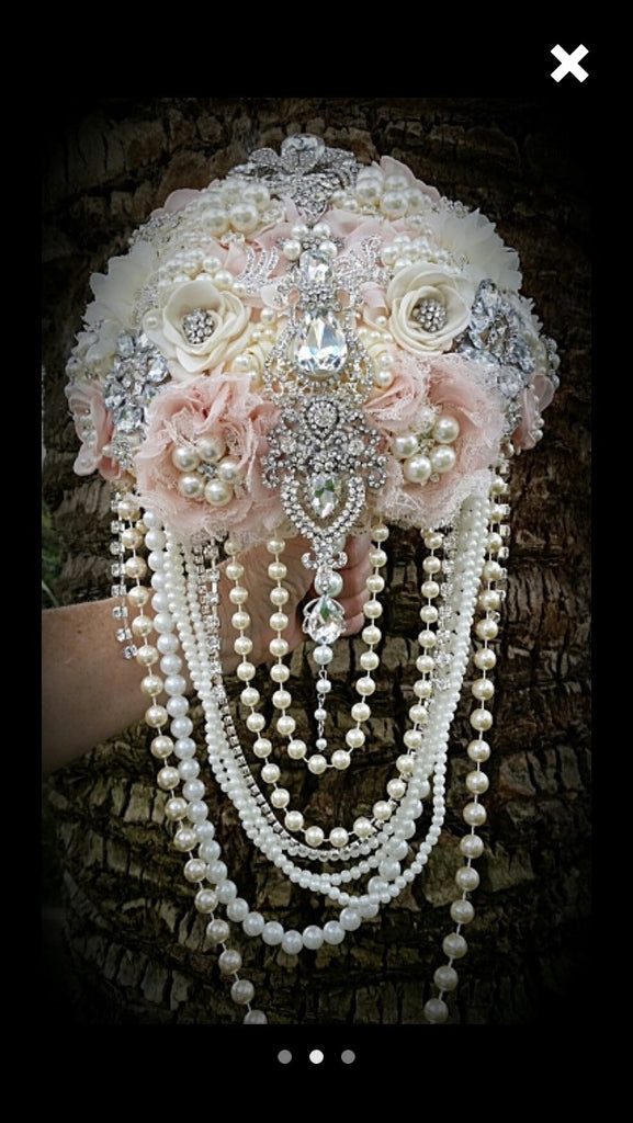 Cascade Blush Ivory Brooch Bouquet $599