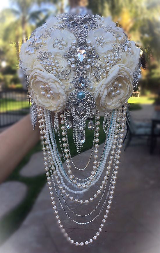 Custom Pale Ivory Cascading Bridal Bouquet - $725.00
