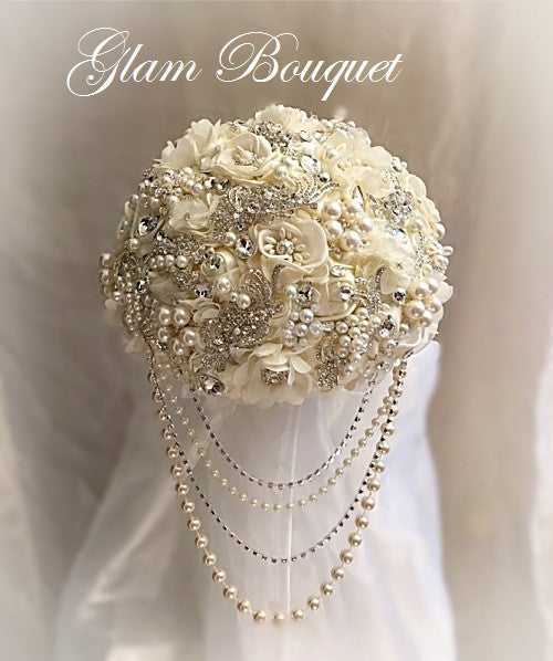 Ivory & Silver Jeweled Wedding Bouquet - $465.00
