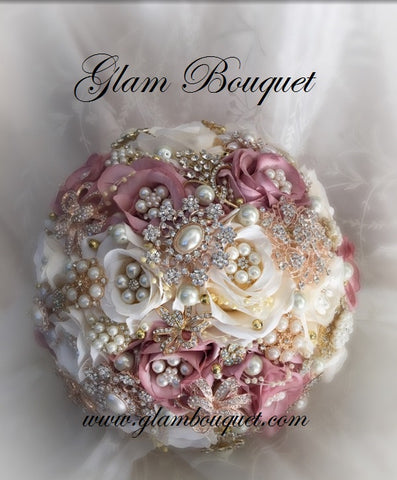 Dusty Rose Silk Flower Bridal Brooch Bouquet - $499