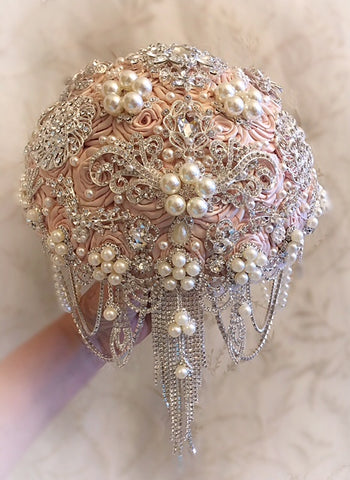 VINTAGE ANTIQUE PINK BROOCH BOUQUET - $535.00