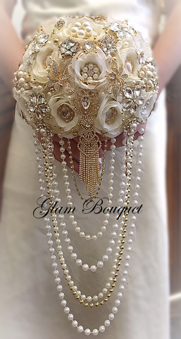 Ivory & Gold Cascading Pearl Brooch Bouquet - $585.00