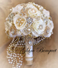Ivory & Gold Cascading Brooch Bouquet - $665.00 USD