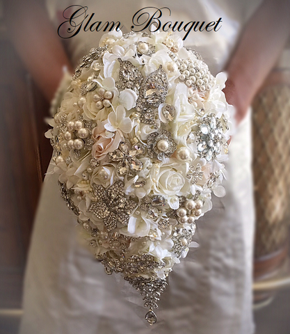 TEARDROP- Jeweled Bridal Bouquet $465.00 PROMO SALE