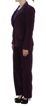 Purple Wool Suit T-Shirt Set