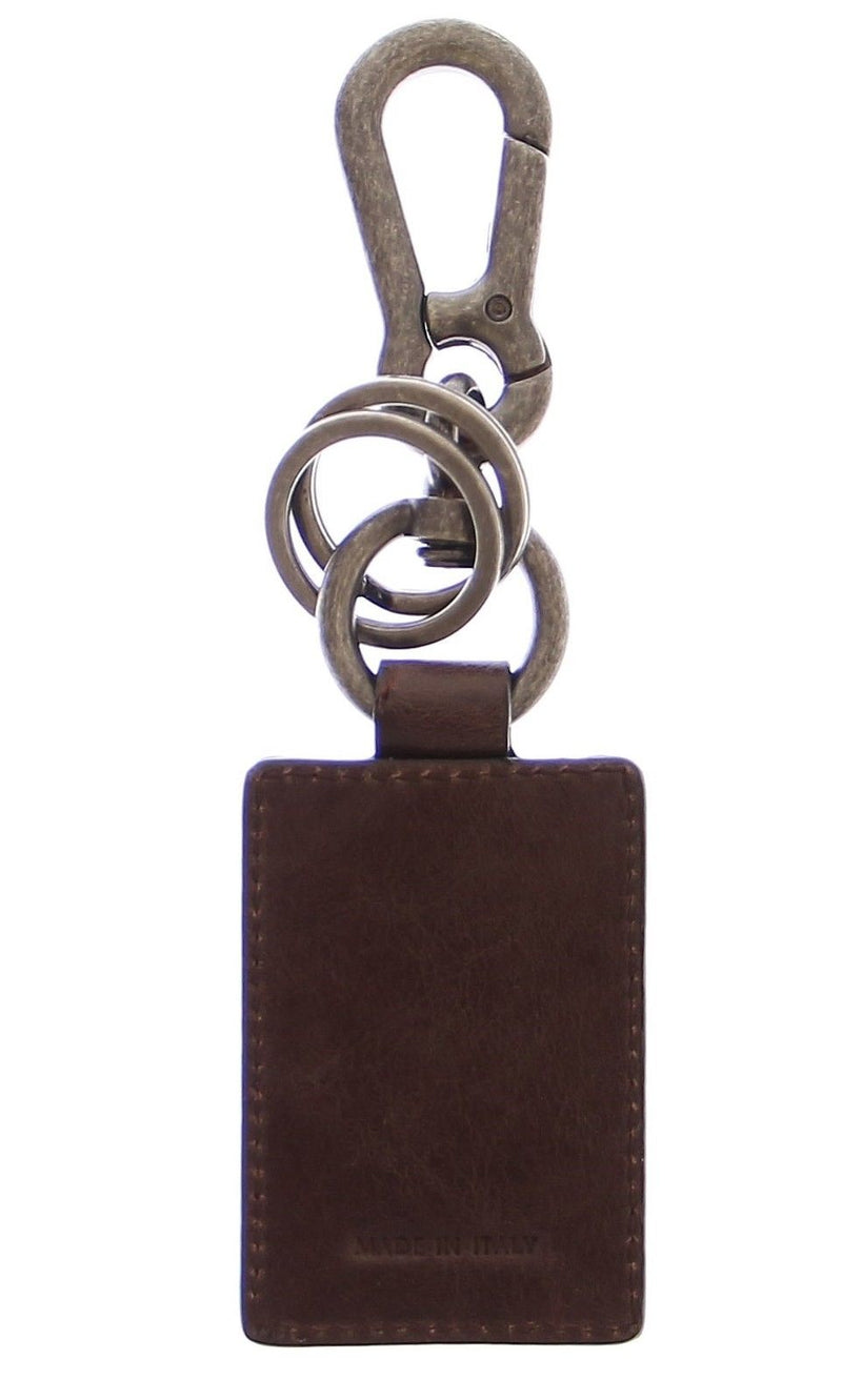 Leather Metal Unisex Ring Keychain