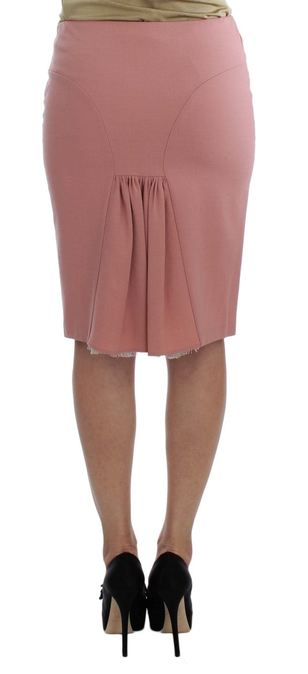 Pink Wool Stretch Straight Pencil Skirt