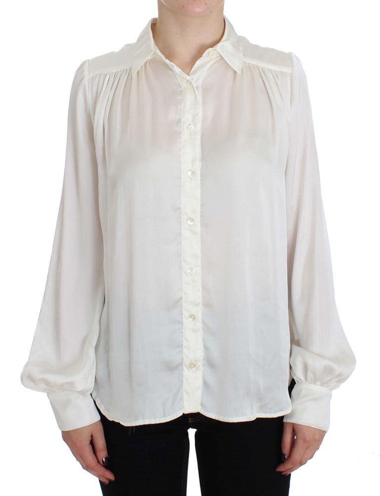 White Button Down Blouse Shirt