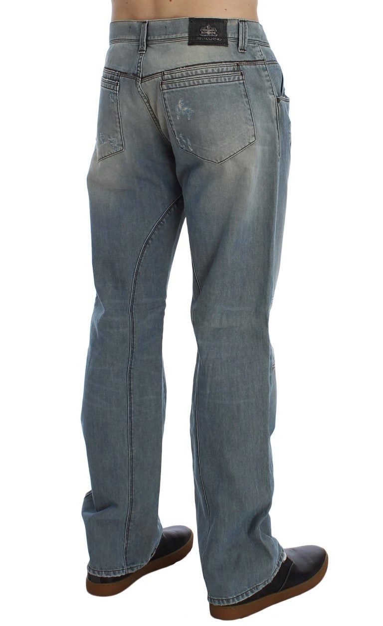 Blue Wash Cotton Denim Baggy Fit Jeans