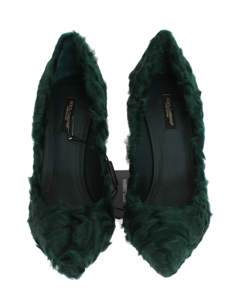 Green Xiangao Lamb Fur Leather Pumps