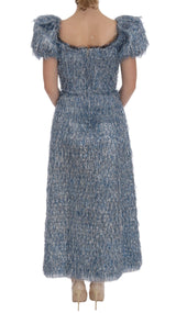 Blue Ruffled Fringes Long Sheath Dress