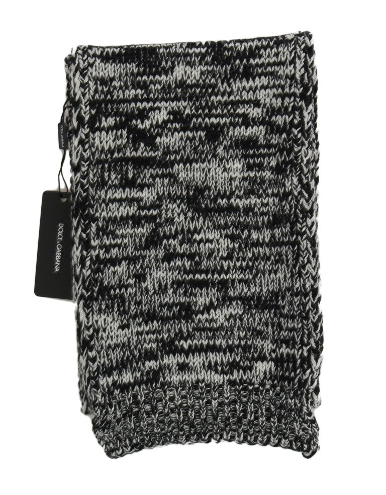 Black White Wool Knitted Scarf