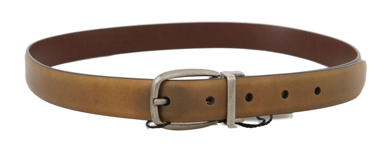 Yellow Leather Gray Vintage Buckle Belt