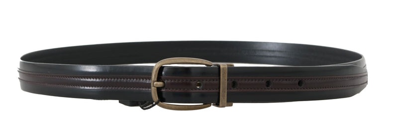 Dolce and Gabbana  Black Bordeaux Leather Belt