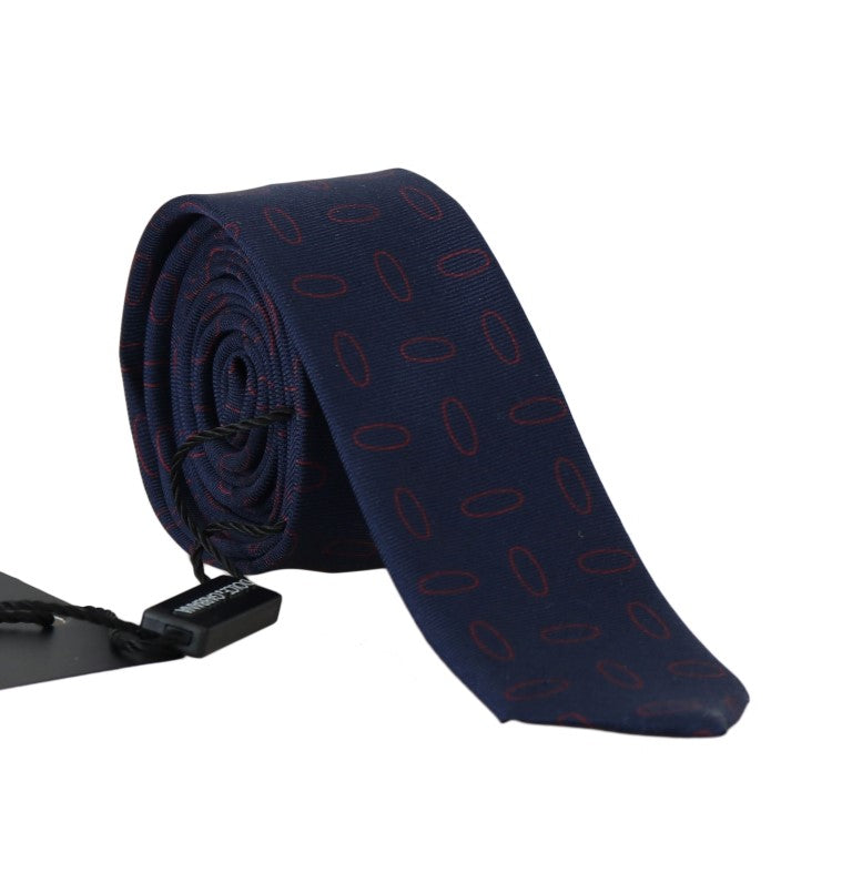 Blue Silk Red Oval Pattern Slim Tie