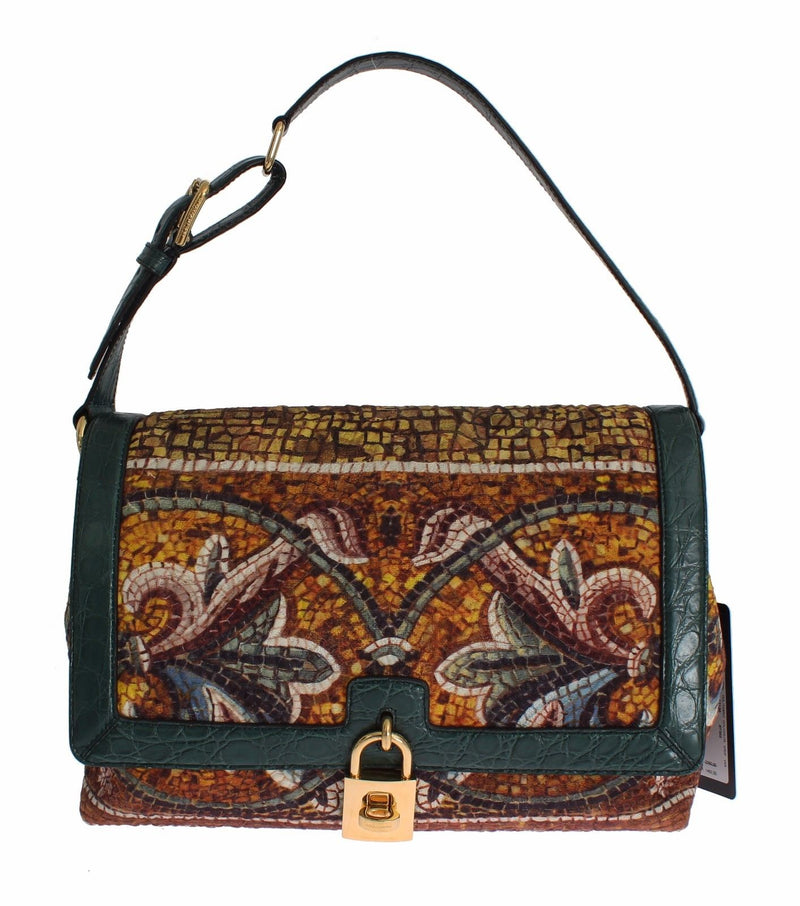 MISS BONITA Mosaic Brocade Crocodile Hand Shoulder Bag