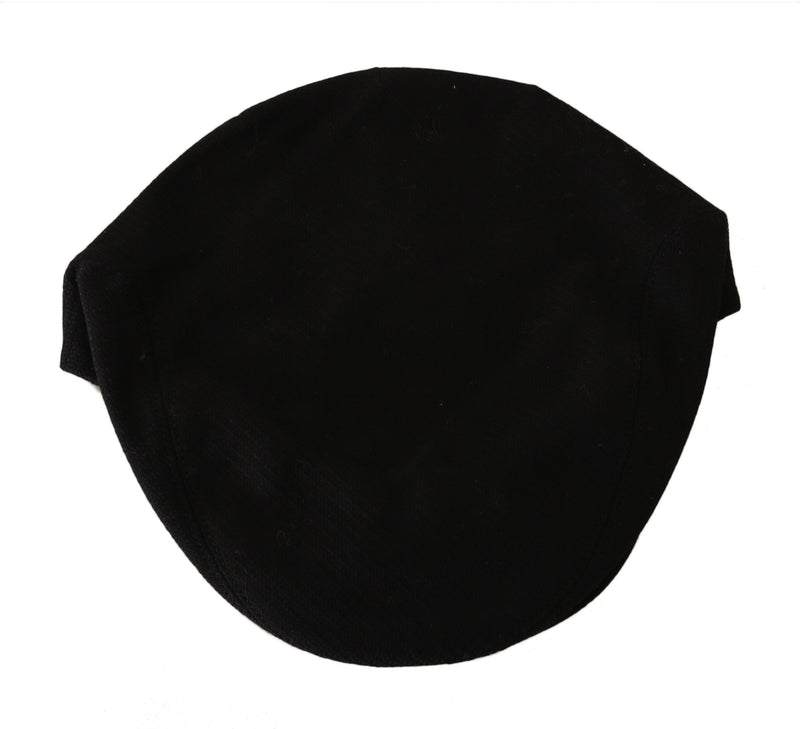 Black Cotton Woven Pattern Logo Newsboy Hat