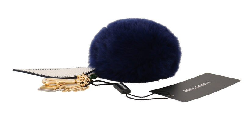 White Blue Leather Fur Gold Clasp Keyring Keychain